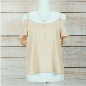 Paper Crane Peach Cold Shoulder Short Sleeve Top